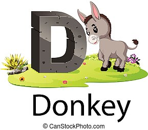 zoo animal alphabet D for Donkey with the animal beside