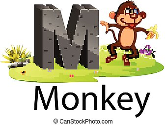 zoo animal alphabet M for monkey with the cute animal