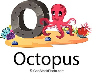 zoo animal alphabet O for Octopus with the cute animal