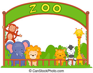 Illustration of Zoo Animals Leaning on the Fence