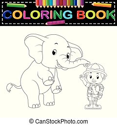 Zookeeper and elephant coloring book - illustration of...