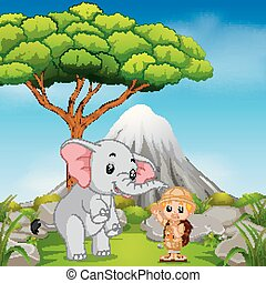 Zookeeper and elephant posing with mountain scene -...