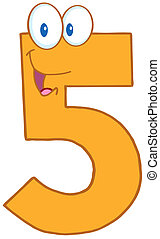 Number Five - Illustration OfHappy Number Five Cartoon...