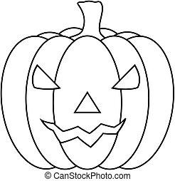 illustration., o'lantern, halloween, vecteur, découpé,...