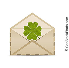Illustration old envelope with clover isolated on white background for St. Patrick's Day - vector