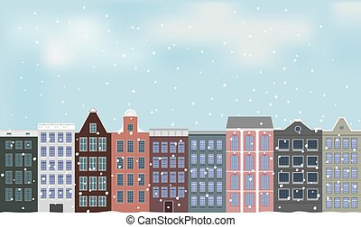 Illustration, old European city and