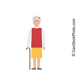 Old Woman Walking with Cane Isolated on White Background