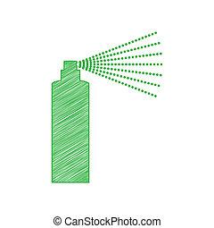 illustration., omtrek, vast lichaam, witte , teken., pictogram, krabbelen, achtergrond., fles, groene, verpulveren