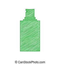 illustration., omtrek, vast lichaam, witte , teken., pictogram, krabbelen, achtergrond., groene, verpulveren