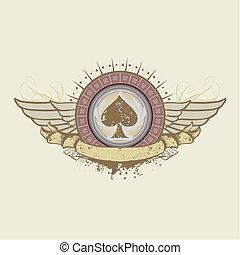 spades suit emblem - illustration on a gambling subject....