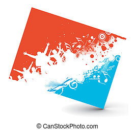 music theme - Illustration on a musical rock party card, ...
