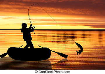 Illustration on fly fishing