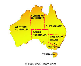 map of australia showing eight states and its boundaries - ...