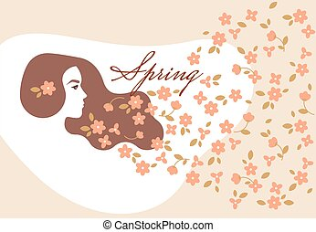 Illustration on the banner of the spring womens day with the silhouette of a girl with flowers flying.