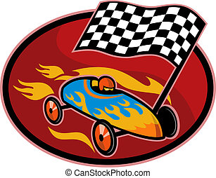 Soap box derby racing with race flag set inside a circle -...