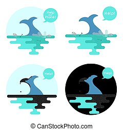 Illustration on the theme of pollution of the ocean. Vector.