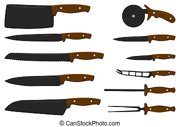 set different types knives different size for butcher