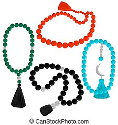 set different types of beads for rosary with tassel
