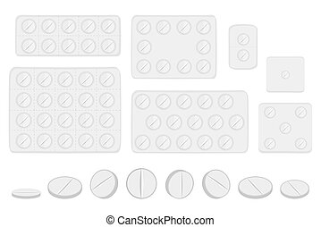 big colored set different types of pills inside close blister
