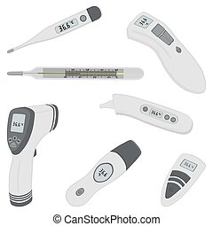 big colored set different types of thermometers for hospital