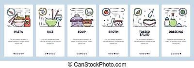 illustration, onboarding, dressing., site web, café, ou, nourriture, menu, app, plat, pâtes, riz, screens., soupe, mobile, site, toile, restaurant, vecteur, gabarit, development., conception, bannière