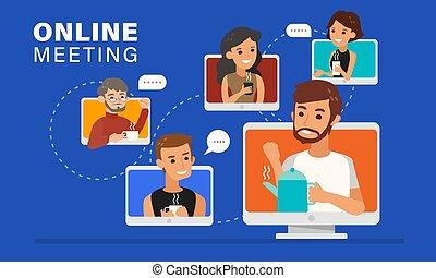 illustration., online vergadering, vrienden, ongedwongen