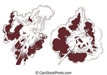 illustration., ontploffing, liggen