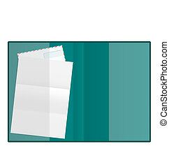 Illustration open folder with paper and envelope, isolated on white background - vector