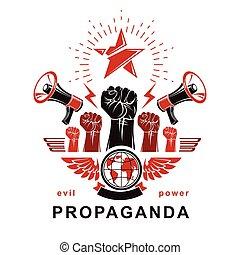 illustration., opinion., pugni, globale, stretto, mezzi, marketing, altoparlanti, composto, bandiera, vettore, elevato, influenza, propaganda, pubblico, pianeta, terra