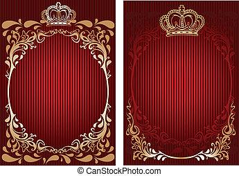 illustration., or, banner., royal, vecteur, orné, rouges