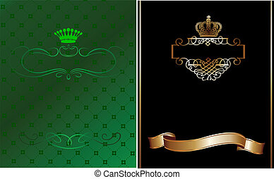 illustration., or, banner., vecteur, noir, orné, vert