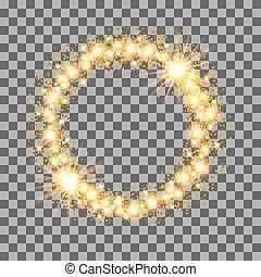 illustration., or, cadre, arrière-plan., vecteur, étoiles, cercle, scintillement, transparent, lueur
