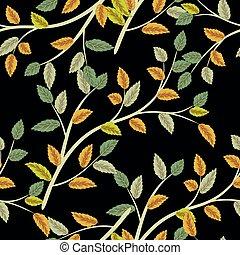 illustration., or, modèle, feuilles, seamless, automne, arrière-plan., vecteur, feuille