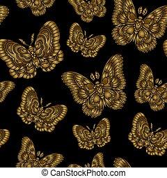 illustration., or, modèle, seamless, arrière-plan., vecteur, noir, butteflies