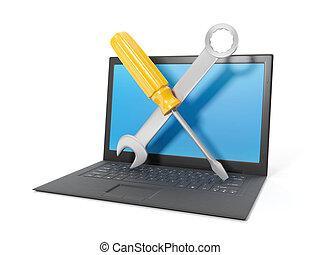 illustration:, ordinateur portable, tehpod, arrière-plan., informatique, noir, blanc, réparation, 3d