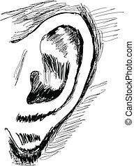 illustration, -, oreille, vecteur, humain