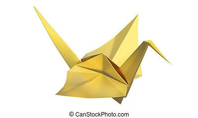 illustration, origami, fugl, guld, 3