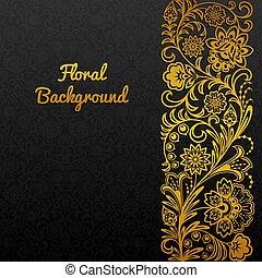 illustration., ornament., tradizionale, vettore, fondo, floreale