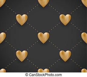 illustration., oro, modello, seamless, valentina, day., vettore, sfondo nero, cuori