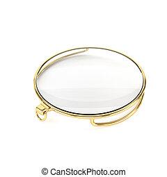 illustration., oro, monocolo, isolato, fondo., bianco, 3d