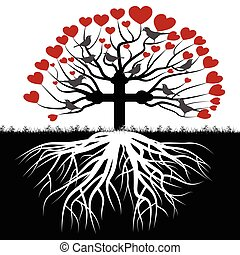 Illustration Orthodox tree as a symbol of love and faith.