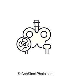 illustration., orthopedy, signe, concept., symbole, vecteur, ligne, icône, linéaire