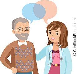 illustration., orvos, patient., beszéd, vektor, idősebb ember, physician., ember
