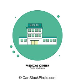 illustration., ospedale, centro, fondo, bianco, medico, design.
