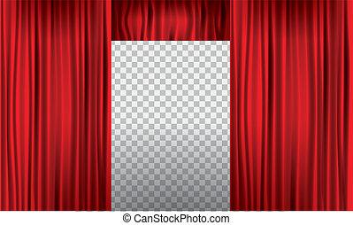 illustration., otwarcie, detail., wysoki, realistyczny, wektor, kurtyna, czerwony