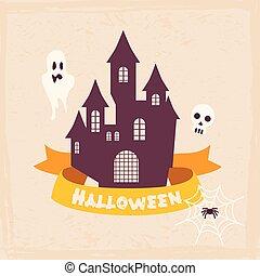 illustration., ouderwetse , etiketten, halloween, vector, style., kentekens