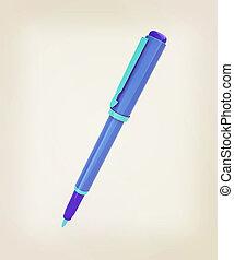 illustration., ouderwetse , pen, ontwerp, collectief, style., 3d