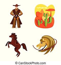 illustration., ouest, signe., collection, américain, vecteur, illustration, sauvage, stockage