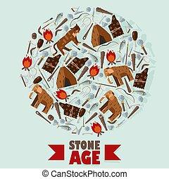 illustration., outils, era., rond, primitif, livre, mammouth, vecteur, tente, âge, feu, âge, composition, cadre, néolithique, glace, lion, symboles, saber-toothed, pierre, icônes, couverture