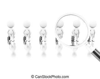 illustration., ouvrier, haut, verre, nouveau, cueillette, magnifier, 3d